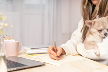 Distance Learning Online Education And Work. Business Woman With Puppy Dog Writes Goals, Plans, Make To Do And Wish List In Notebook On Desk, Working From Home Office. Using Laptop. Focus On Dog.