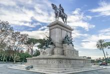 Monument To Giuseppe Garibaldi (1895) - Equestrian Statue On Janiculum Hill At Piazza Garibaldi In Rome. Giuseppe Garibaldi Was An Italian General, Patriot And Republican. Rome, Italy.