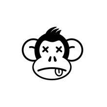 Dead Monkey Silhouette Icon. Clipart Image Isolated On White Background.