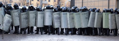 Fototapeta Riot police full equipment