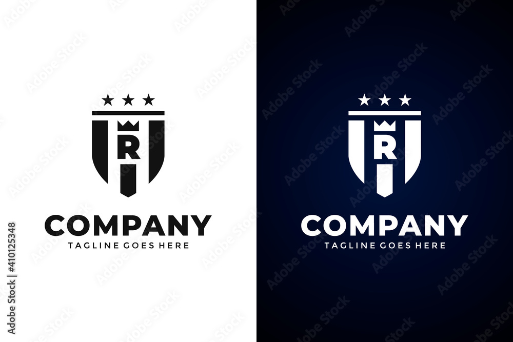 Fototapeta Modern Shield and letter R logo template.Vector shield emblem design. Shield logo design.