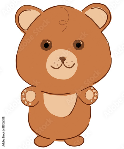 Cartoon bear  a toy for children  a print on a T-shirt  for children's things  clothes or a picture on the wall for a children's room or kindergarten  a print on textiles. #410126318