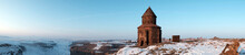 Ani Ruins, Kars, Turkey - Ancient Historical Building And Mystical Ambiance In Winter Time. St. Gregory Church In Ani Ruins. Kars,Turkey