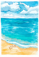 The Word LOVE Is Written On The Sand By The Sea Watercolor Illustration. Romantic Sea Landscape Hand-drawn On Textured Watercolor Paper. Surf, Shore And Ocean