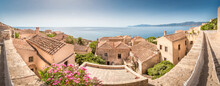 Panoramic View Over The Roofs With Red Roof Tiles Overlooking The Blue See At Monemvasia, Peleponnese, Greece
