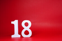 No. 18 ( Eighteen ) Isolated Red  Background With Copy Space - Number 18% Percentage Or Promotion - Discount Or Anniversary Concept