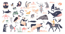 Animals Set With Various Wildlife Mammal Species Group Tiny Person Concept