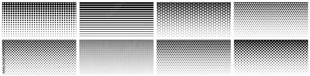 Fototapeta Seamless halftone gradient. Black screentone graphics. Abstract geometric black and white graphic design print pattern.