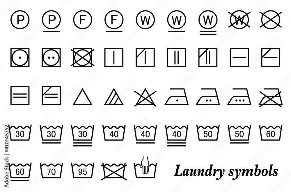 Fototapeta 洗濯表示記号(ランドリーシンボル)ベクターアイコンセット