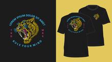 Tiger Head Vintage Outline Design For T-shirt Black