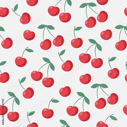 Foto Seamless juicy red cherries pattern