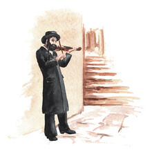 Orthodox Jew Plays The Violin On A Street In The Old Town. Hand Drawn Watercolor Illustration, Isolated On White Background