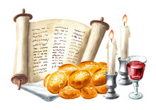Shabbat Shalom Card, Traditional Jewish Celebration Oh The Shabbat, Challah, Candles, Torah Scroll. Hand Drawn Watercolor Illustration, Isolated On White Background