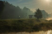 Morning On The River Early Morning Reeds Mist Fog And Water Surface On The River.