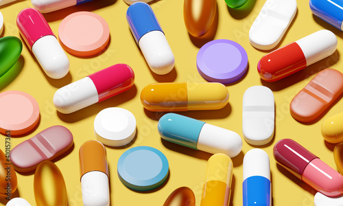 Fotografering A background of medical pills and antibiotics for a variety of medical conditions