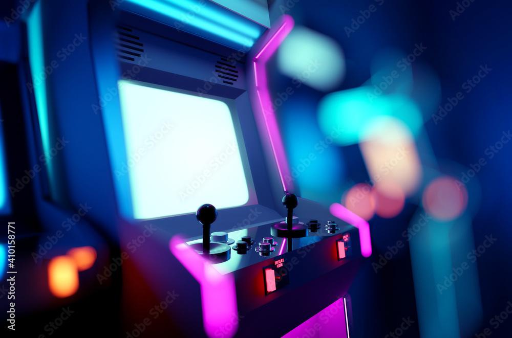 Fototapeta Retro neon glowing arcade machines in a games room. 3D render illustration.