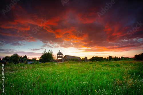 Photo Beautiful sunset over the settlement of Trade Factory in Pruszcz Gdanski, Poland