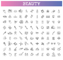 Beauty Vector Outline Icons Set. Beauty Treatment
