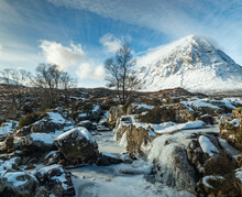 The Majestic Buachaille Etive Mor On Rannoch Moor And Glencoe In The Argyll Region Of The Highlands Of Scotland During A Snow Storm In Winter