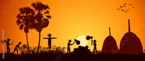 Slika na platnu country life of Asia man harvest rice on sunrise time,silhouette style,vector il