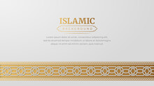 Islamic Arabic Golden Ornament Arabesque Pattern Border Background With Copy Space For Text