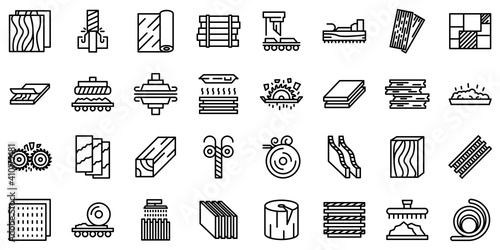 Obraz Plywood icons set. Outline set of plywood vector icons for web design isolated on white background - fototapety do salonu