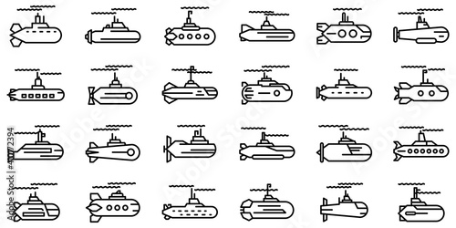 Submarine icons set Fotobehang