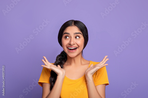 Close up portrait of happy young indian woman © Prostock-studio