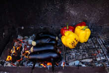Grilled Fresh Vegetables. Yellow, Red Bell Peppers And Eggplant Are Grilled. Vegetarian BBQ