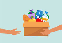 Charity Donation Box With Food, Humanitarian Support Vector Illustration Design