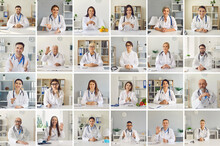 Lots Of Different Medical Workers' Webcam Portraits. Happy Smiling Multiethnic Doctors Waving Hand, Greeting Each Other In Online Work Meeting. Laptop Computer Screen View, Video Call Headshot Collage