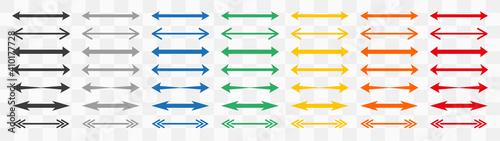 Obraz na plátne Set of colour double arrows