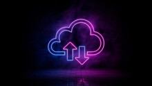 Pink And Blue Neon Light Cloud Icon. Vibrant Colored Data Storage Technology Symbol, Isolated On A Black Background. 3D Render