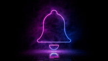 Pink And Blue Neon Light Bell Icon. Vibrant Colored Alert Technology Symbol, Isolated On A Black Background. 3D Render