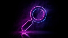 Pink And Blue Neon Light Search Icon. Vibrant Colored Magnifier Technology Symbol, Isolated On A Black Background. 3D Render