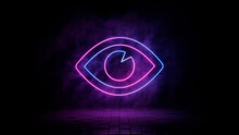 Pink And Blue Neon Light Eye Icon. Vibrant Colored Visibility Technology Symbol, Isolated On A Black Background. 3D Render