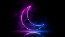 Pink And Blue Neon Light Moon Icon. Vibrant Colored Night Mode Technology Symbol, Isolated On A Black Background. 3D Render