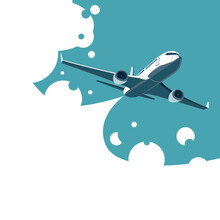 Vector Of An Airplane Soaring In The Sky With Blue And White Clouds In The Background