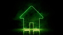 Green Neon Light Home Icon. Vibrant Colored Technology Symbol, Isolated On A Black Background. 3D Render