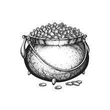 St. Patrick's Day Cast Iron Pot Full Of Golden Coins. Hand Drawn Vector Illustration