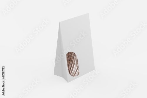 mockup bags with clip band isolated on white background. Can be use for your design, presentation, promo. 3d illustration.  © Designkida