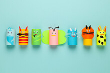 Homemade Paper Toys, Creative Kids Art. Reuse Toilet Rolls.