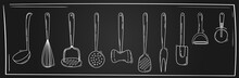 Kitchen Utensils Collection. Whisk, Pizza Cutter, Spoon, Potato Pusher, Peeler, Slotted Turner, Hammer. Hand Drawn Vector Illustration. Kitchen Utensils, Line Art On A Blackboard. Chalkboard Style.