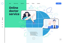 Medical Insurance Web Page Template- Online Doctor Service -modern Flat Vector Concept Illustration -woman Talking Online With Doctor From Halfway Around The World, Medical Service, Insurance Metaphor