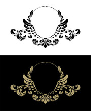 Frame With Vintage Pattern And Angel Wings. Two Options. Vector Illustration.