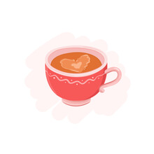 Hand Drawn Romantic Coffee Cup Vector Illustration. Latte Heart Foam, Coffee With Milk Froth