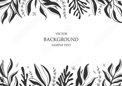 Obraz Floral vector template with leaves, plants for greeting card. Abstract natural elements. Vector plant print for holiday poster, background, cover, banner, invitation. Minimalistic, trendy design. - fototapety do salonu