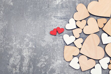 Wooden Colorful Hearts On Grey Background