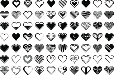 Hearts. Vector stilyzed black hearts set, isolated on white background. Symbols, signs flat icons. Love, valentine icon collection.