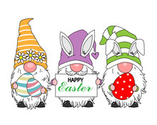Happy Easter Card. Gnomes With Easter Eggs. Isolated Vector